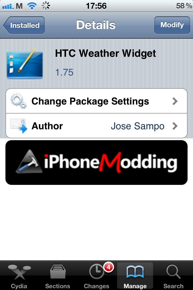 HTC weather widget для iPhone