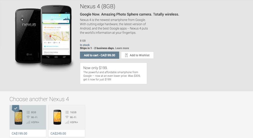 Nexus 4 pricedrop