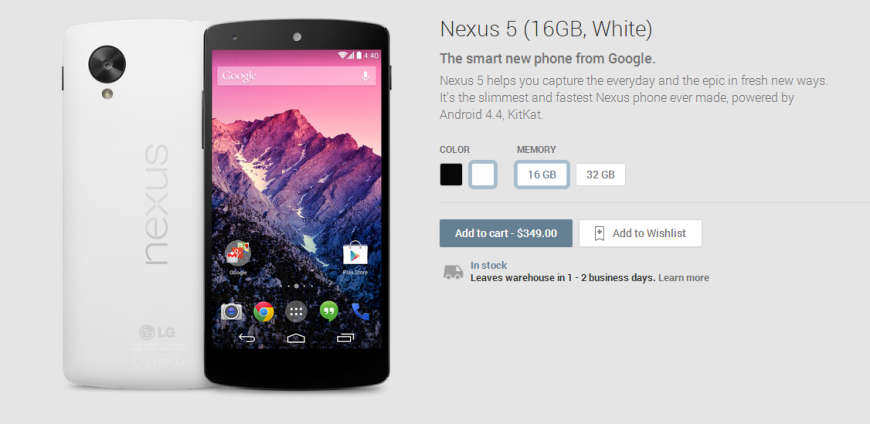 Nexus 5 16GB White