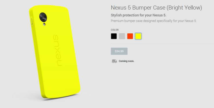 Nexus 5 Bumper Case Bright Yellow