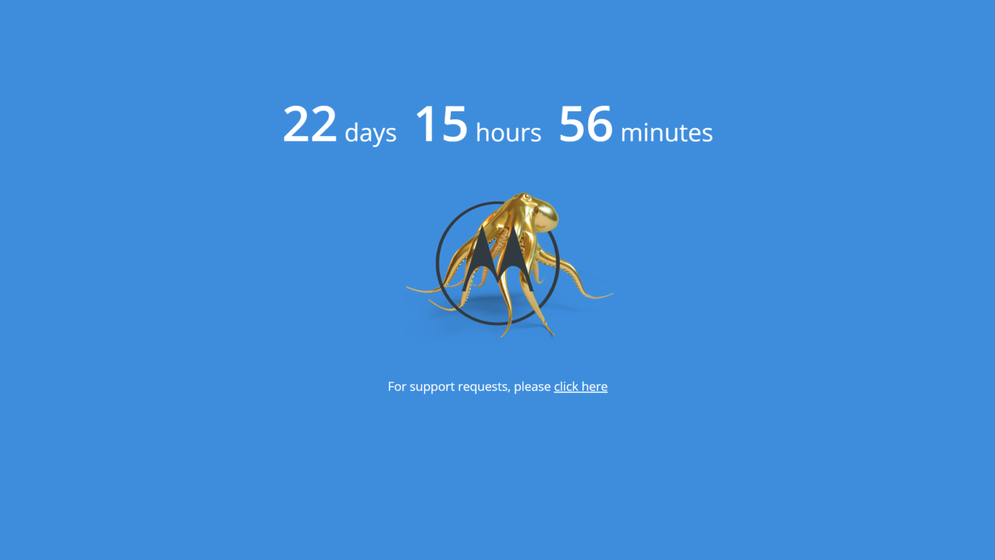 Обратный отсчет на сайте Motorola