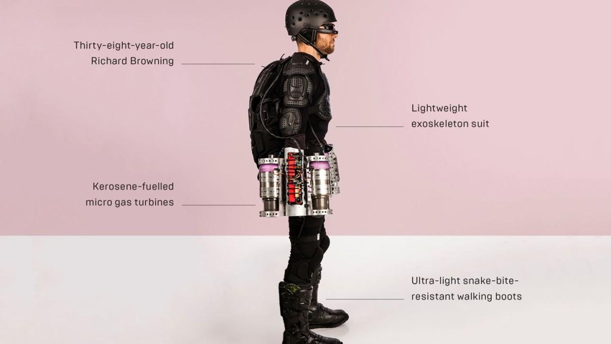Англичанин изобрел летающий костюм среактивными моторами