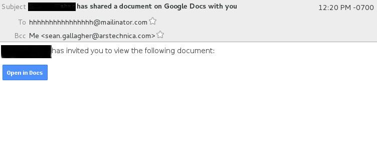 Google предупредила пользователей о фишинговой рассылке под видом писем из Google Docs