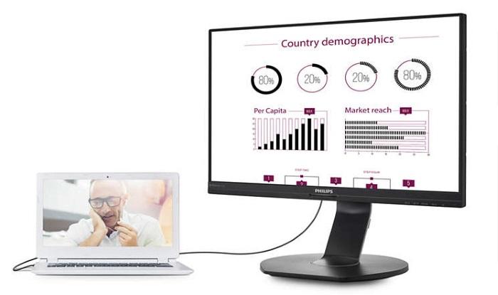 Philips представила монитор B-line с USB-подключением и хабом