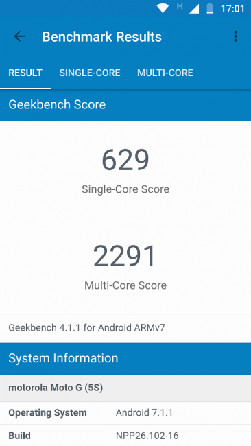 Motorola Moto G5S Geekbench 4