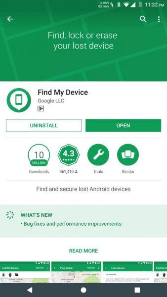 """""""Найти устройство"""" от Google"""