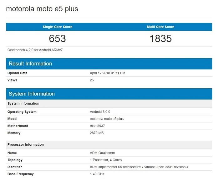 Бюджетный Moto E5 Plus замечен в бенчмарке Geekbench