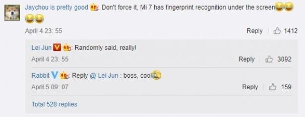 Xiaomi Mi 7 со сканером отпечатков пальцев под дисплеем