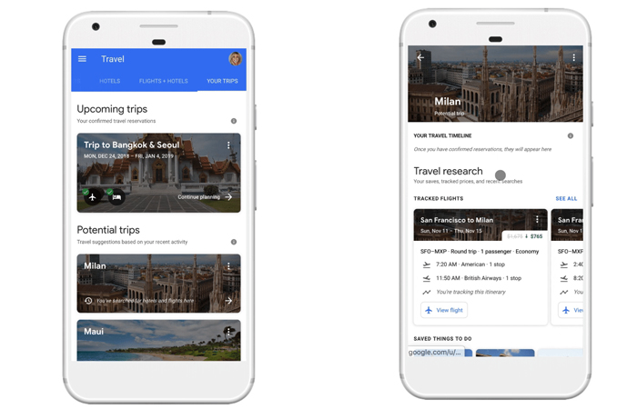 Google travel-planning tool