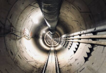 Boring Company futuristic tunnel garage