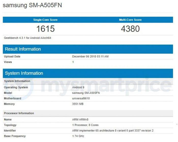 Samsung Galaxy A50 появился на Geekbench: Exynos 9610 SoC и 4 ГБ оперативной памяти