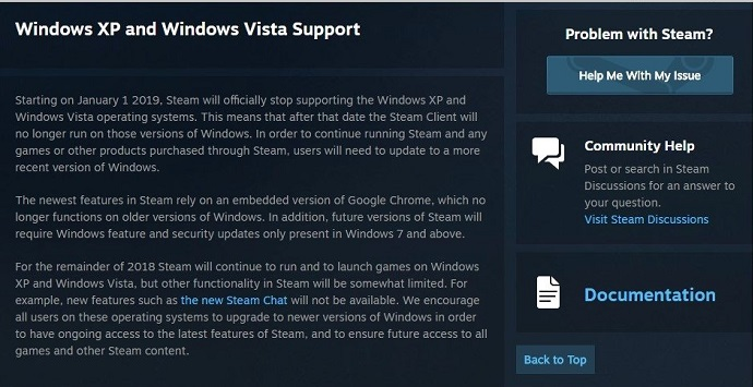 Steam on XP, Vista