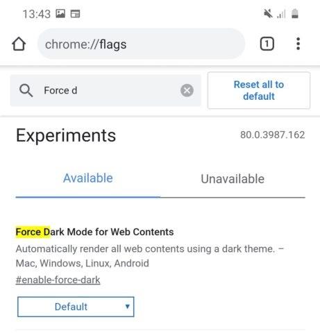 Google Chrome с темным режимом на всех страницах