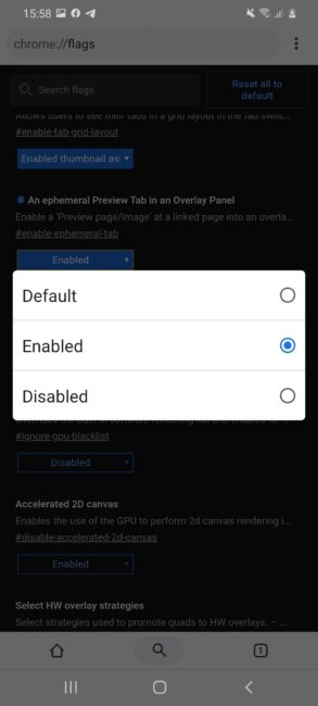 Ввімкнення прев'ю посилань в Google Chrome для Android