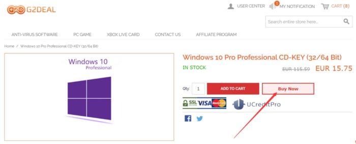 Купить ключ Windows 10