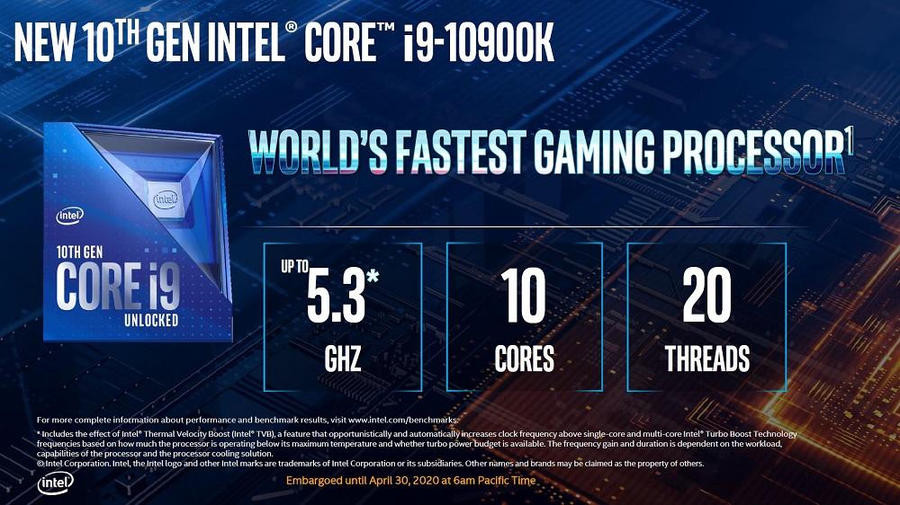 Прем'єра процесорів Intel Core Comet Lake-S 10-го покоління