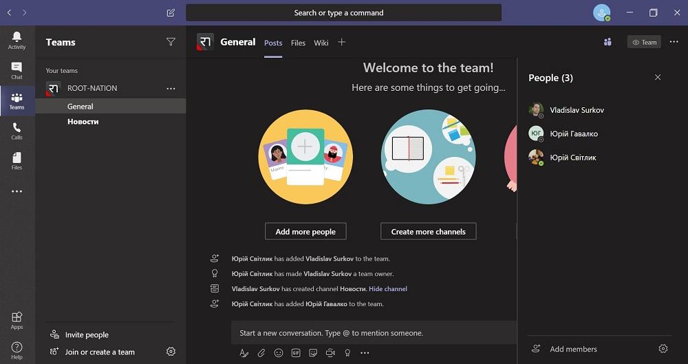 Create a team in Microsoft Teams