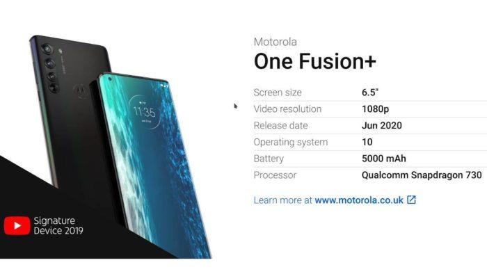 Слили характеристики Motorola One Fusion+