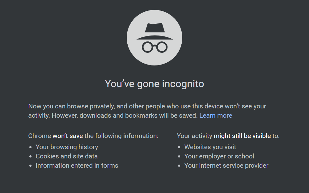 incognito mode is not completely private