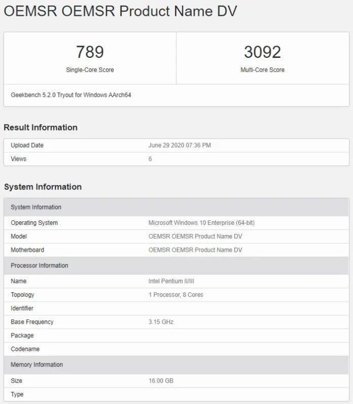 Surface Pro X GeekBench
