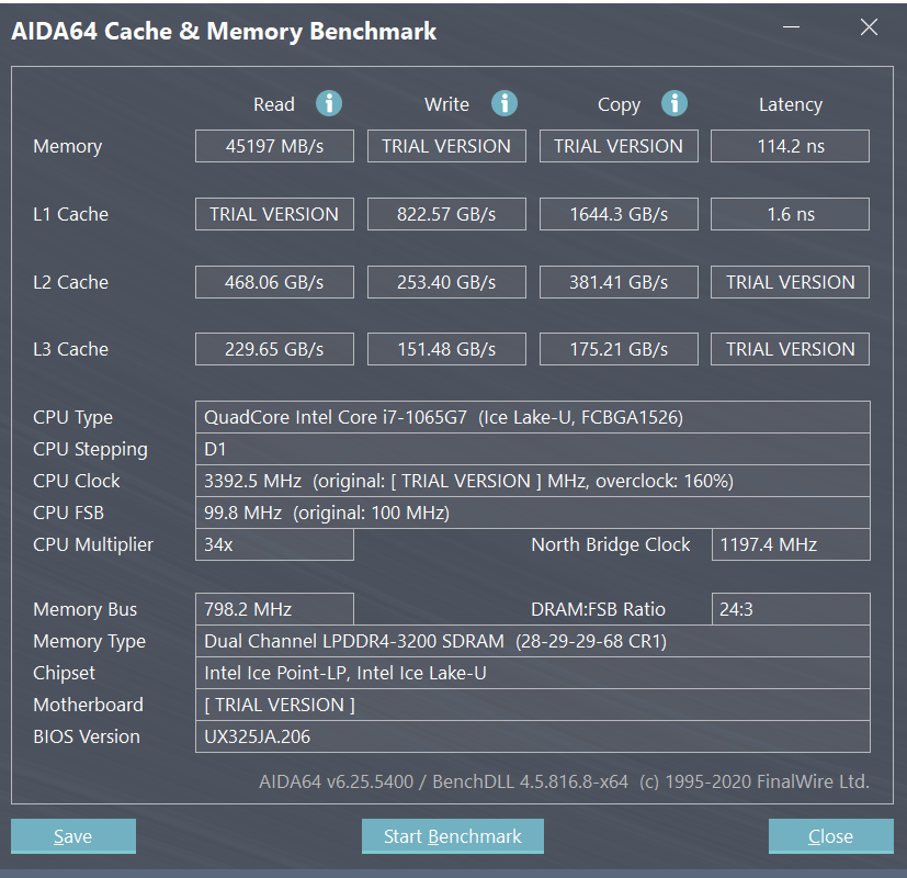 ASUS ZenBook 13 (UX325) AIDA64