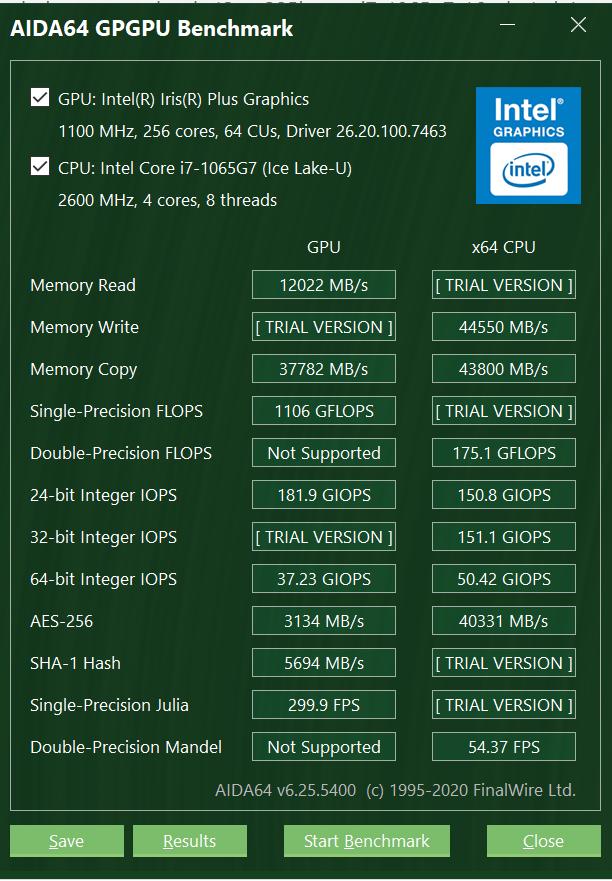ASUS ZenBook 13 (UX325) AIDA64 GPGPU