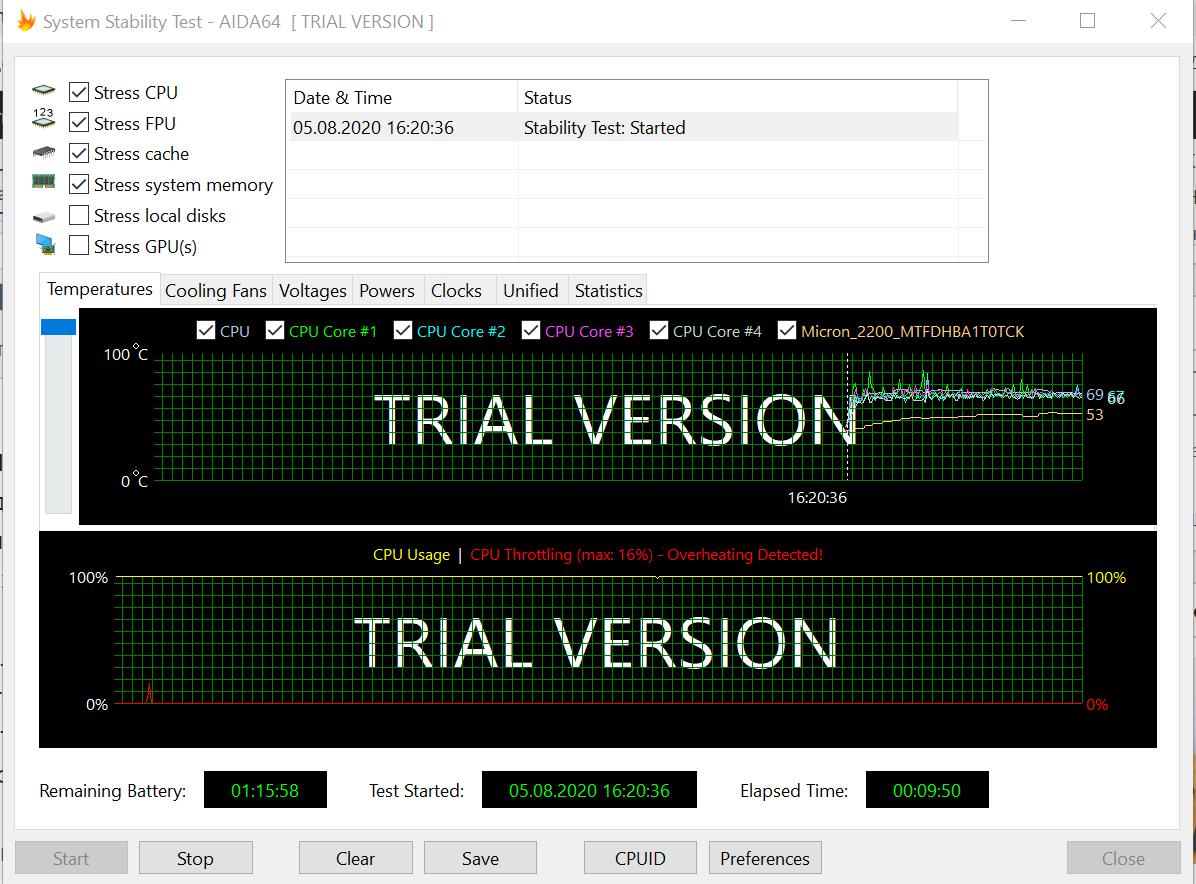 ASUS ZenBook 13 (UX325) AIDA64 Stability Test