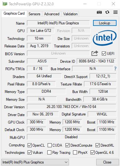 ASUS ZenBook 13 (UX325) GPU-Z