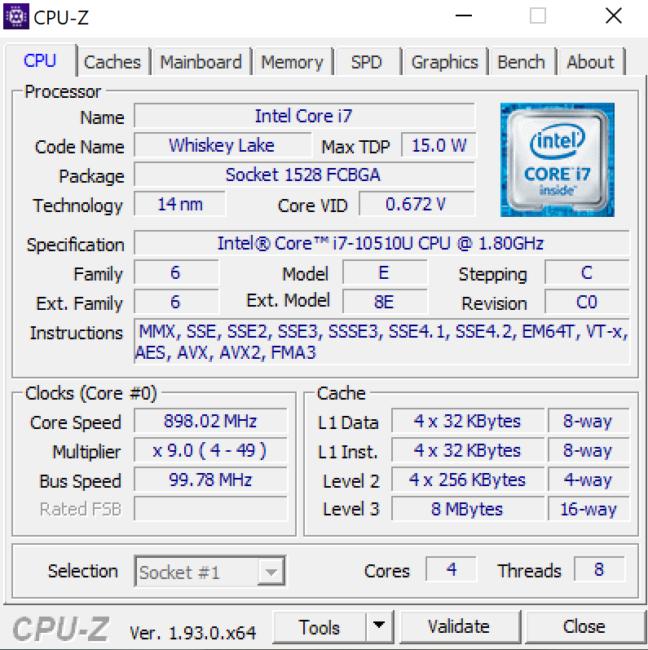 Huawei MateBook X Pro 2020 CPU-Z