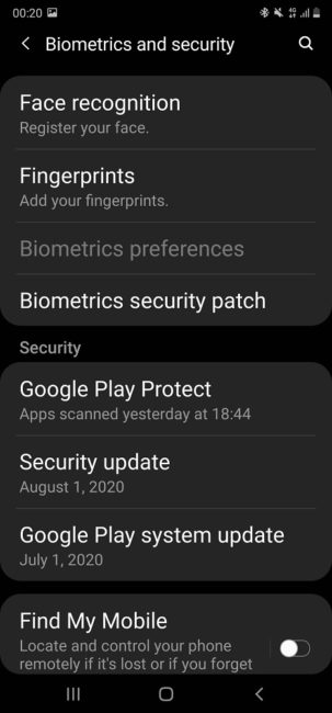 Samsung Galaxy Note20 Biometrics