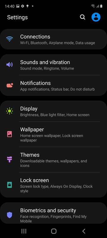Samsung Galaxy S20 FE One UI