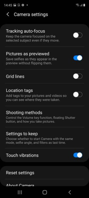 Samsung Galaxy S20 FE Camera Setting