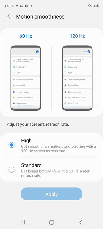 Samsung Galaxy S20 FE Display Setting