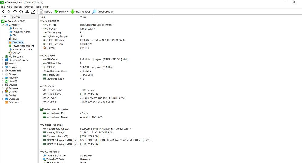 Acer Nitro 5 2020 AIDA64