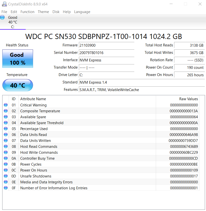 Acer Nitro 5 2020 CrystalDiskInfo