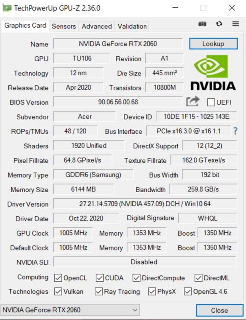 Acer Nitro 5 2020 CPU-Z Benchmark