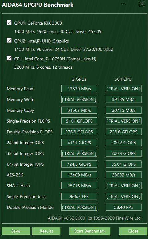Acer Nitro 5 2020 GPGPU Benchmark
