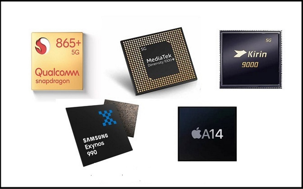 Qualcomm Snapdragon 865, Kirin 9000, Samsung Exynos 990 Apple A14 Bionic