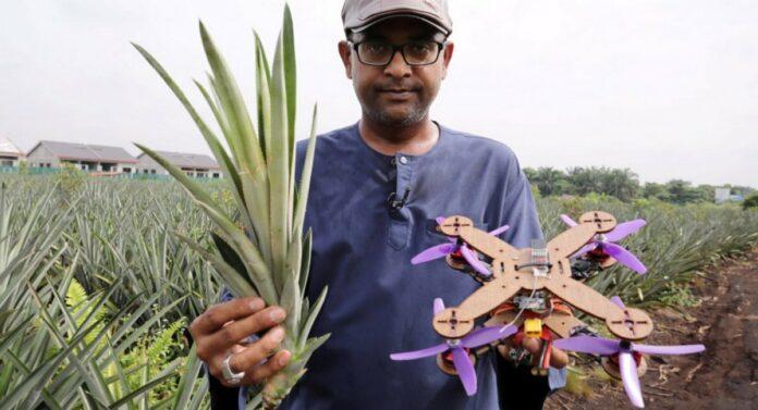 Концепт дрона з рамою з ананасового листя