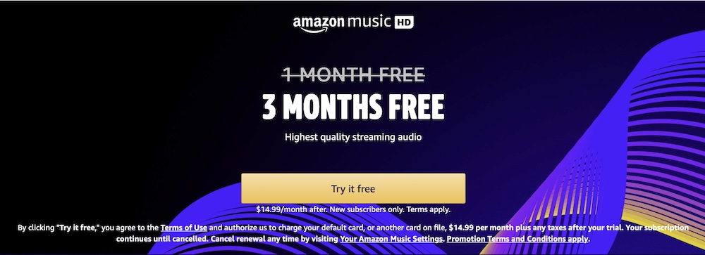 Amazon Music HD trial extended