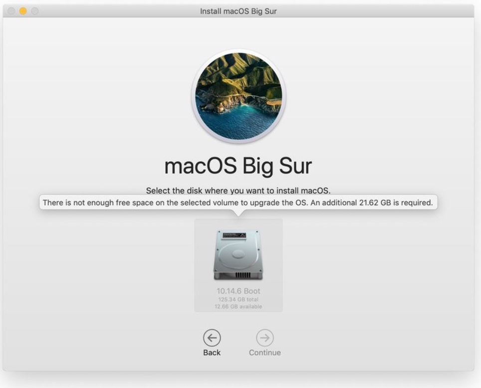 Apple macOS Big Sur alert