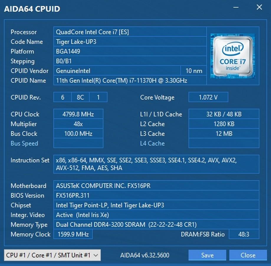 ASUS TUF Dash F15 CPU
