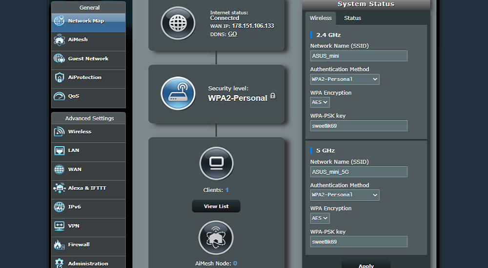 interface ASUS ZenWiFi AX Mini