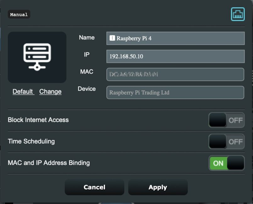 ASUS WiFi settings