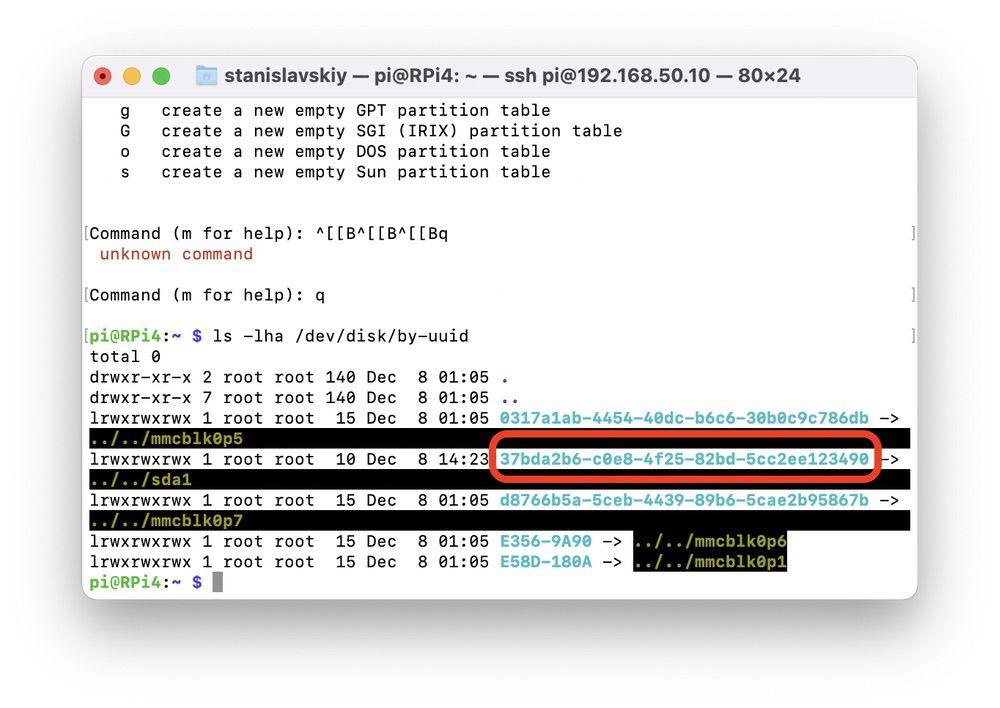Raspberry Pi HDD formatting