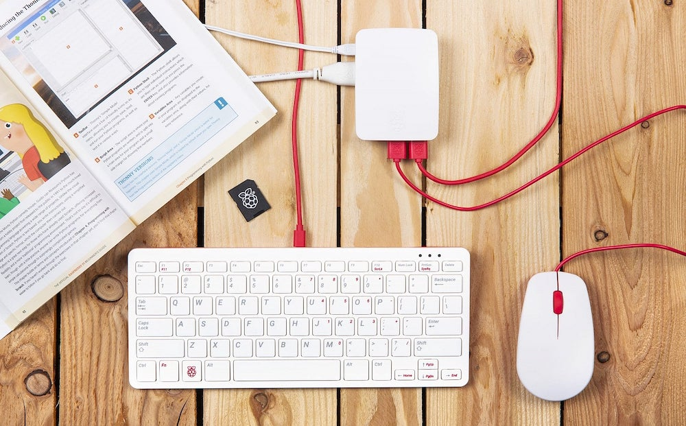 Raspberry Pi 4 with keyboard and mouse