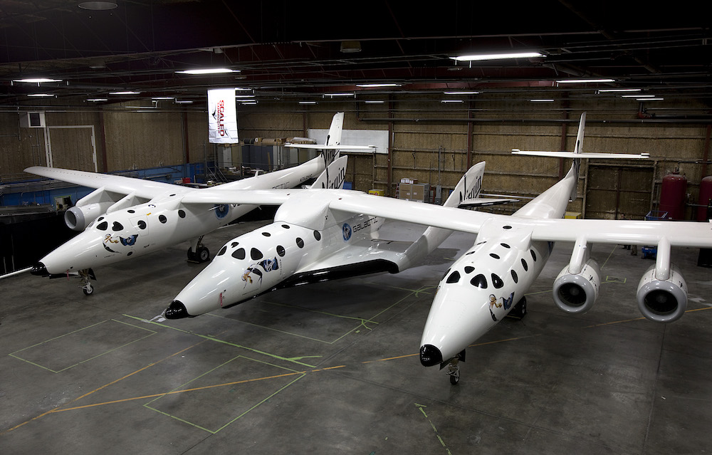 SpaceShipTwo resting under the Mothership WhiteKnight2