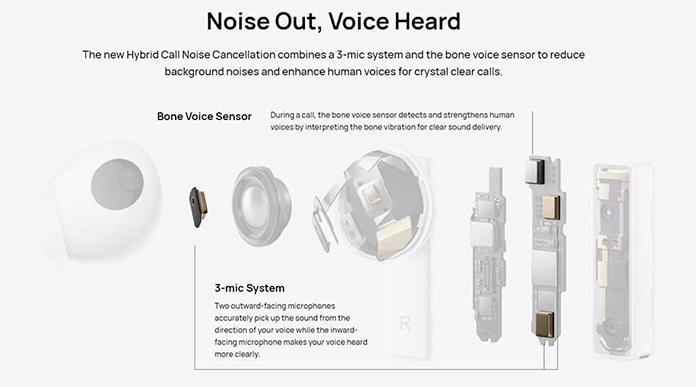 Huawei FreeBuds Pro: 3 microphones and a bone conduction sensor