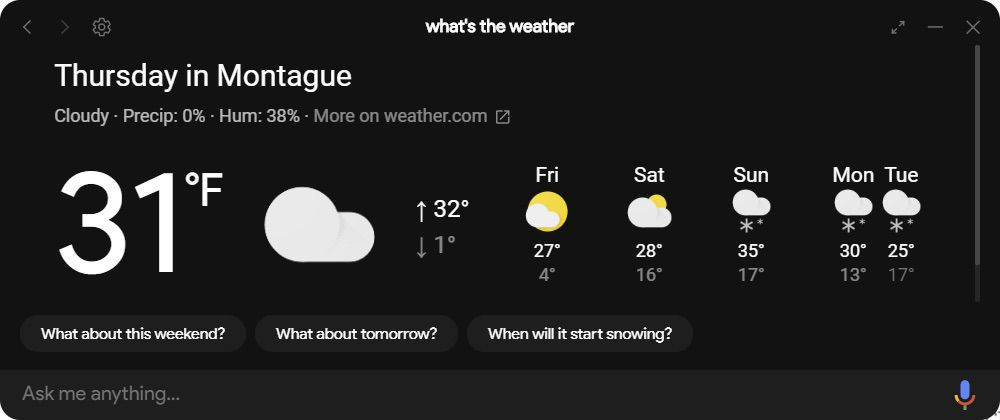 Unofficial Google Assistant Weather