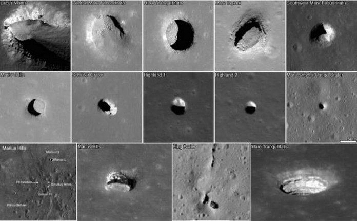 відкриті лавові труби на Місяці